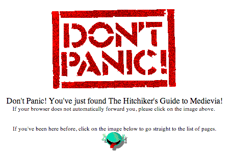 Front Page of the Hitchhiker's Guide to Medievia